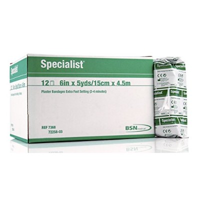 BSN 7368 6 in. x 5 yard Extra-Fast-Setting Green Label Specialist Plaster Bandages, 12 per Box by...