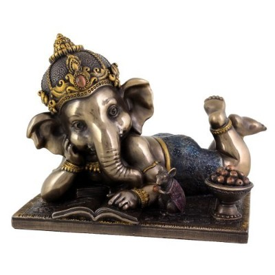 Young Ganesh (ガネーシャ) Reading withマウス6インチの幅 – Hindu Elephant God of Success – Absolutely美しい彫刻アートワークby...