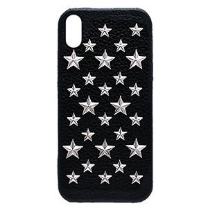enchanted.LA STAR STUDDED LEATHER COVER CASE #BRILLIANT STARS エンチャンテッドエルエースタースタッズレザーケース iPhone8 / iPhone8Plus / iPhone7 / iPhone7Plus / iPhone6s/6 / iPhone6sPlus/6Plus / SE / iPhone5s/5 (iPhone X, ブラック × シルバー)