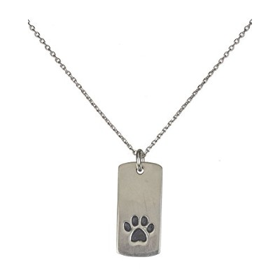 シルバートーンピューターDog Paw Print Bar Plaqueネックレスpurchases Go to Greater Good Rescue寄付