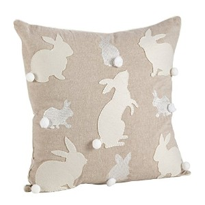 """SAROライフスタイル6047.n18s刺繍Bunny Down Filledクッション、自然、18"""""""