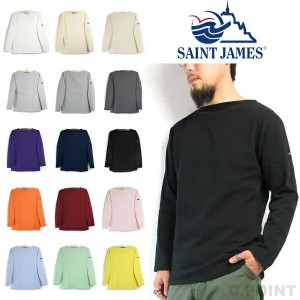 (18SS)(セントジェームス) SAINT JAMES #OUESSANT -Solid- Men's ウェッソン 長袖 バスクシャツ 無地 ボートネック カットソー(送料無料/メンズ...