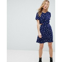 エイソス レディース ワンピース トップス ASOS Mini Tea Dress With Cut Out In Heart Print Multi