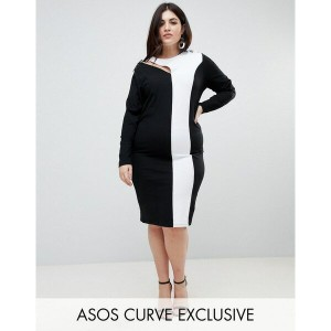エイソス レディース ワンピース トップス ASOS CURVE Colour Block Midi Bodycon Dress With Asymmetric Sleeve And Lace Up...