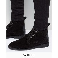 エイソス メンズ ブーツ&レインブーツ シューズ ASOS Wide Fit Desert Boots In Black Suede With Leather Detail Black