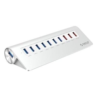 ORICO Premium 10 Port USB 3.0 Hub with 3.3 Ft Cable - 7x USB 3.0 Ports + 3x Charging Ports for iMac...
