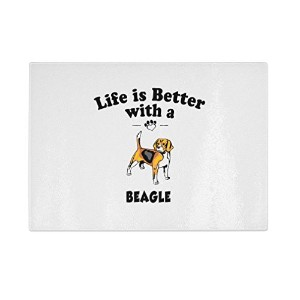 Beagle Dog Life Is Betterキッチンバーガラスカッティングボード 8 in x 11 in CUTBCDOGPT13049_811