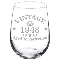ワイングラスゴブレット70th Birthday Vintage Aged to Perfection 1947 17 oz Stemless