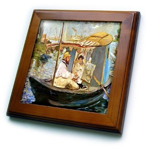 FT _ 80496フローレン有名なアート–Monet Painting in his boat by Manet–フレーム付きタイル 8x8 Framed Tile ft_80496_1