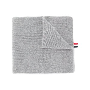 Thom Browne Full Needle Rib Scarf With White 4-Bar Stripe In Cashmere