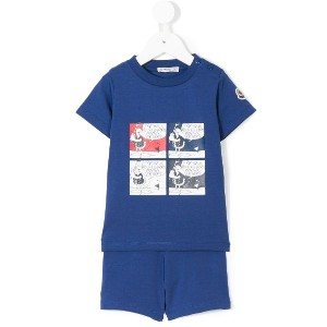 Moncler Kids コミックプリント Tシャツ - ブルー