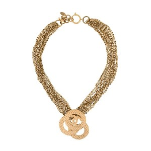 Chanel Vintage multi-chained logo necklace - メタリック