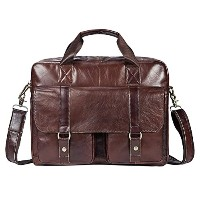 Zhhlinyuan 男性 First Cowhide Leather Zipper Briefcases Laptop Tote Shoulder Bag ショルダーバッグ Daypack...