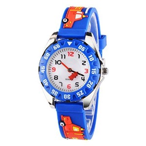 venhoo Kids Watches Cartoon防水シリコン子供腕時計Time Teacher Gifts for Boys Girls ブルー