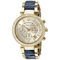 Michael Kors Women 's Goldtone Parker Watch with Navy Tortoise Acetateセンターリンク None