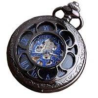 Switchme Hand Wind Mechanical Pocket Watch Hollowカバー Black-S2 ブラック-2