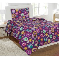MKコレクションシートセット布団セットwith Owl Pillowフクロウ花パープルピンクTealイエローホワイトターコイズオレンジ新しい Twin Sheet