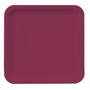 Creative Converting色のタッチ18Count Square Paper Lunch Plates、ブルゴーニュ
