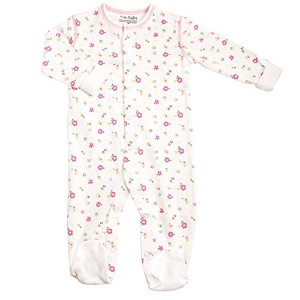 Kushies Cotton Baby Pajamas Pink Flowers Baby Girl Footie Footed Sleeper 3M by Kushies