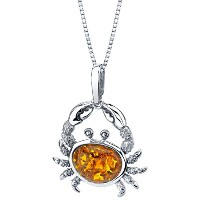 Baltic amber sterling silver crabペンダントネックレス