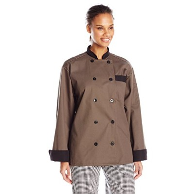 Uncommon Threads 0404-6506 Newport Chef Coat 10 Buttons in Olive/Black Trim - 2XLarge