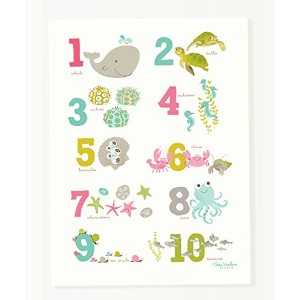 Sea Urchin Studio Numbers Art Poster, Sea and Shore/Pink, 12 x 16 by Sea Urchin Studio