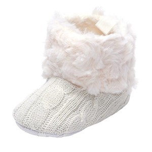 Annnowl Baby Girls Knit Soft Fur Winter Warm Snow Boots Crib Shoes 0-6 Months by Annnowl