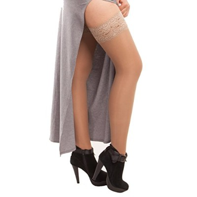 ITA-MED Sheer Thigh Highs, Compression (23-30 mmHg) Beige, XLarge by ITA-MED