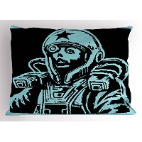 Astronaut Pillow Sham by Ambesonne、メスAstronaut Space Woman SFテーマHand Made図面Space Galaxy、装飾標準Kingサイズ印...
