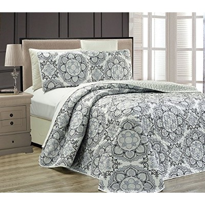 (King) - Mk Collection 3pc King Oversize Reversible Quilted Bedspread Set Floral Grey White Black...