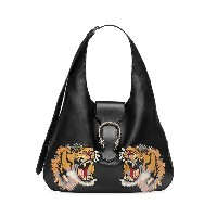 Gucci Dionysus embroidered maxi leather hobo - ブラック