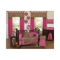 Cheetah Animal print Pink and Brown Baby Girl Bedding 9pc Crib Set by Sweet Jojo Designs