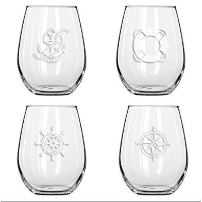 Set of 4 – Stemlessボートワインglasses-nauticalテーマ、Tritan、16オンス、粉砕Proof Drinking Glasses forワインまたはCocktail...