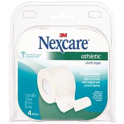 3M Nexcare Athletic Cloth Tape, 1-1/2 in x 10-Yards Each, 4 Rolls (Pack of 2) by Nexcare
