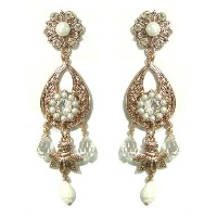 Amaro Jewelry Studio 善earl GemCollection 24K Rose Gold Plated Dangle Earrings Enhanced with Flower...