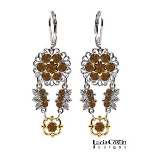 Lucia Costin Dangle Flower Earrings Made of .925 Sterling Silver with 14K Yellow Gold over .925...