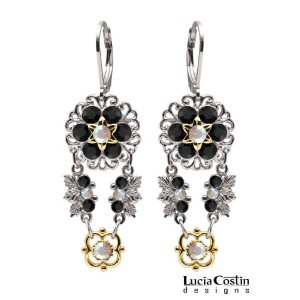 Lucia Costin Flower Shaped Dangle Earrings Made of .925 Sterling Silver with 14K Yellow Gold over ...