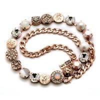Amaro Jewelry Studio 'Pearl Gem' Collection 24K Rose Gold Plated Necklace with Round Links Made...