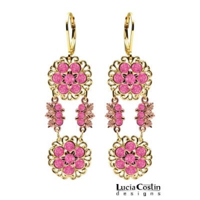 24K Yellow and Pink Gold over .925 Sterling Silver Flower Shaped Dangle Earrings by Lucia Costin...