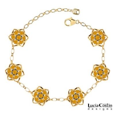 Alluring Bracelet by Lucia Costin with Twisted Lines and Yellow Swarovski Crystal Flowers, Etched...