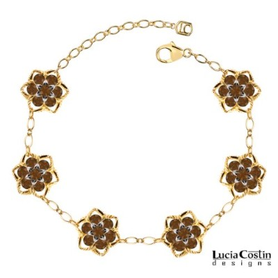 Victorian Style Lucia Costin Flower Bracelet Made of 14K Yellow Gold Plated over .925 Sterling...