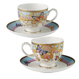FINECASAヨーロピアンスタイルPersonalizedデザインBone China Coffee Mug and Saucer inギフトボックスのセット2