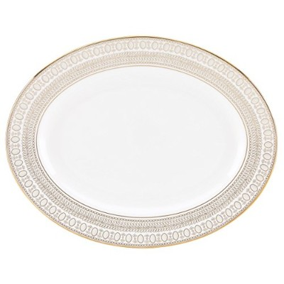 Lenox Marchesa Gilded Pearl Oval Platter、13インチ、ホワイト
