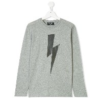 Neil Barrett Kids Lightning Bolt ロングTシャツ - グレー