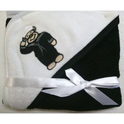 Navy Teddy Bear Sailor Black and White Baby Blanket by TC
