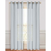 High Quality Malibu Linen Look Sheer Grommet Window Panel, 110 by 84-Inch, Silver