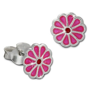 tee-wee子Studs Small Flower withピンクエナメル、925スターリングシルバーsdo8129p
