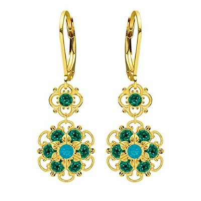 Lucia Costin Silver, Green, Blue Crystal Earrings with Twisted Accents
