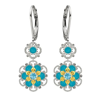 Lucia Costin Silver, Blue, Light Blue Crystal Earrings, Delicate Ornamented
