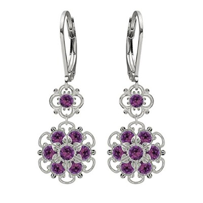 Lucia Costin .925 Silver, Violet Swarovski Crystal Earrings with Flowers